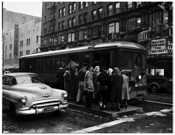 Street car riders, 1952