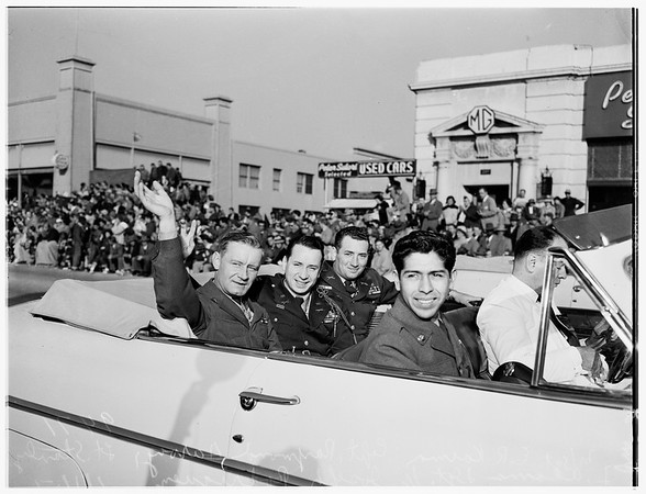 Tournament of Roses ...Seven Grand Marshalls and President of Tournament before parade ...Marshalls in cars during parade, 1951and 1952