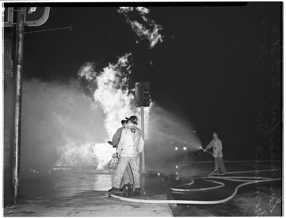 Gas main fire ...95th Street and Normandie Avenue, 1952