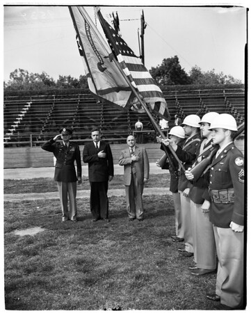 Claremont-Pomona Reserve Officers Training Corps color presentation, 1952