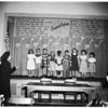 Deaf children singing at Mary Bennett School, 1952