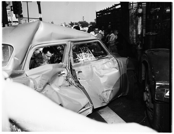 Auto and truck-trailer accident, Atlantic Boulevard and Garvey Avenue, Monterey Park, 1952