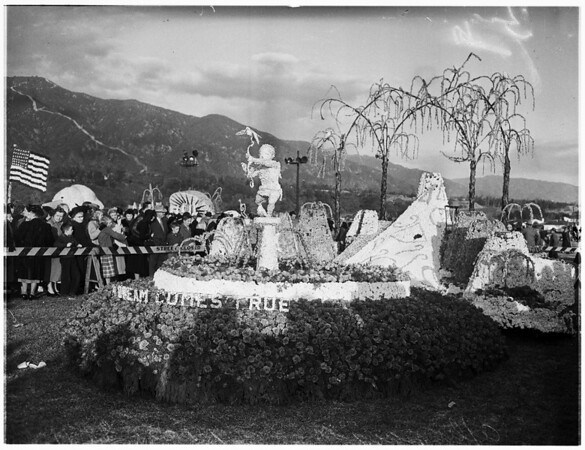 Aftermath of Rose Parade floats, 1952