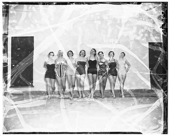 Old and new bathing suits modeled (1870-1952), 1952