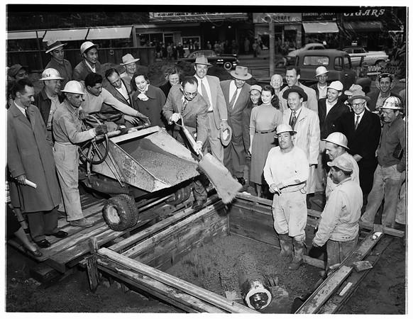 Time capsule planting (Pershing Square), 1952