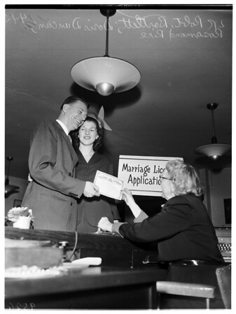 Tip toppers marriage license, 1952