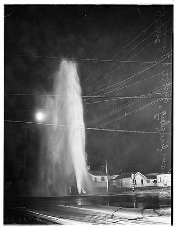 Auto versus fireplug (93rd Street and Figueroa Street), 1952