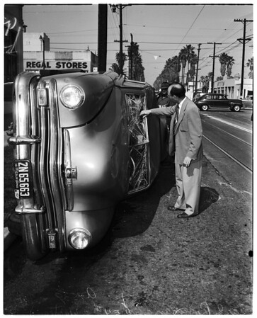 Traffic accident ...54th Street and Western Avenue, 1952