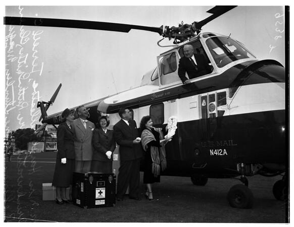 Helicopter at Ambassador Hotel, 1952