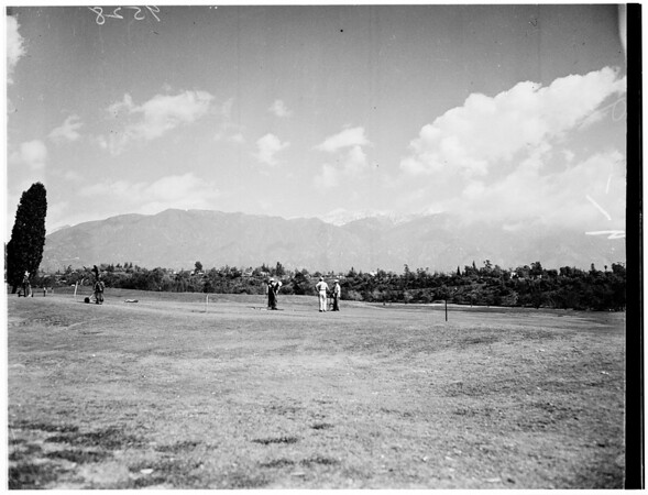 Snow-capped Sierra Madre Mountains seen from Brookside Golf Course, Pasadena, 1952