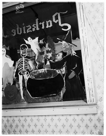 Kids paint windows (Sunset Boulevard), 1952
