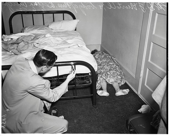 Woman dead at hotel at 427 South Olive Street, 1952