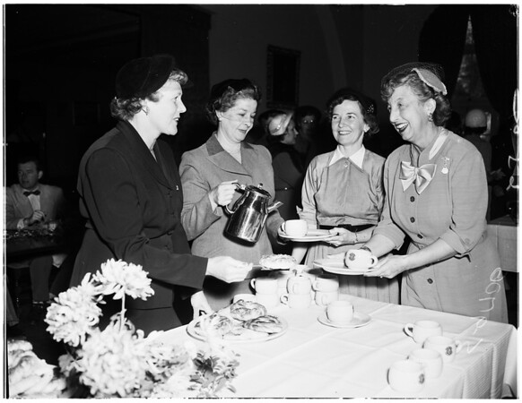 """Society"" -- Town and Gown club -- University of Southern California Fraternity Mother's Club breakfast, 1952"