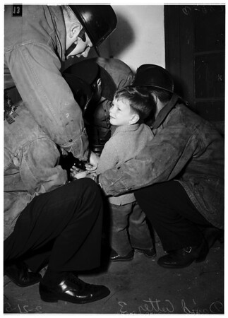 Boy's finger caught in can (Van Nuys), 1952