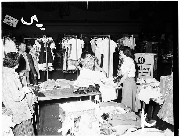 74th semi-annual rummage sale held by California Junior Republic Auxiliary at Pasadena Civic Auditorium, 1952