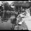 Kids fishing in Echo Park lagoon, 1958