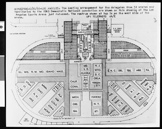 Los Angeles Memorial Sports Arena: Democratic Convention seating arrangement, 1960