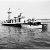 """Cabin Cruiser """"Jennie T"""" explosion at the Harbor, 1961"""