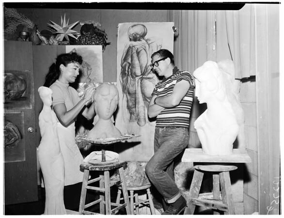 Artist sculptor team, 1957