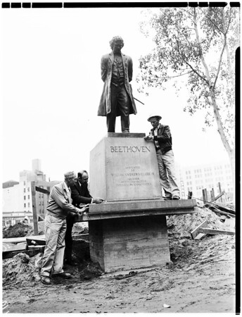 Statue replaced in Pershing Square (Beethoven -- 1932), 1952.