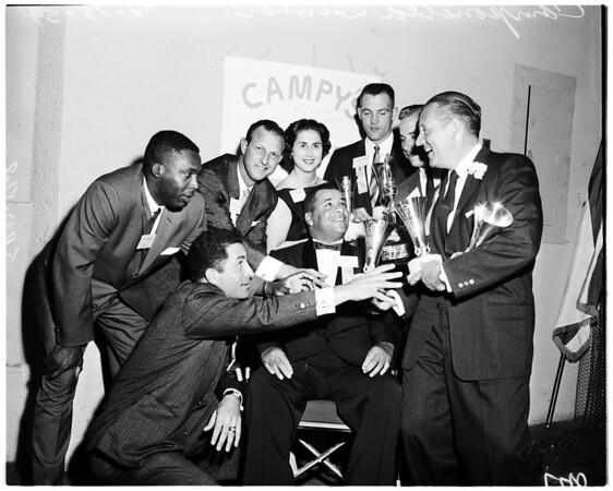 Baseball writers, Dodgers dinner, 1959
