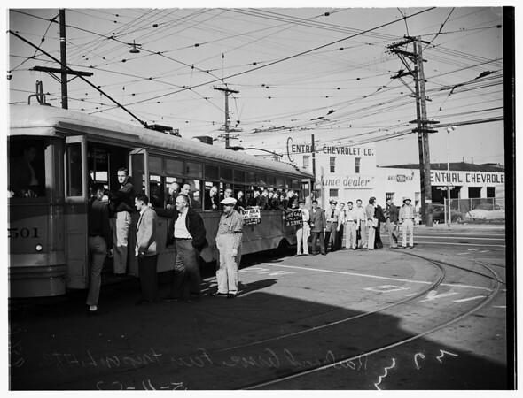 Railroad Association fan trip on Los Angeles Transportation Lines, 1952.
