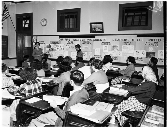 Foreign adjustment classes for new Americans in City Schools (Berendo Junior High School), 1952.