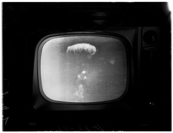 Atom blast (taken in M. E.'s office) Channel 4 on KNBH, 1952
