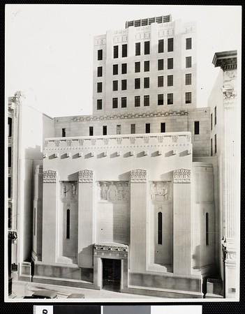 Exterior view of Los Angeles Stock Exchange building, 1934