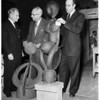 Art exhibit (Mosaic and Iron Glaze figure), 1958