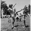 Majorette contest (Southern California Majorette contest, El Prado Parkway, Torrance) sponsored by Torrance Area Youth Band, 1952.