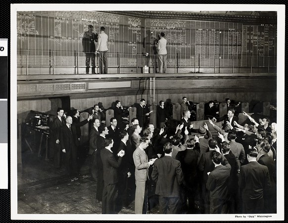 Stock brokers at the Los Angeles Stock Exchange, 1938