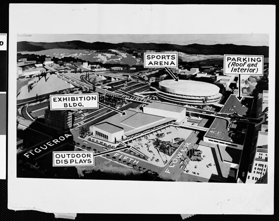 Architect's drawing of proposed War Memorial Auditorium in Los Angeles, ca. 1955
