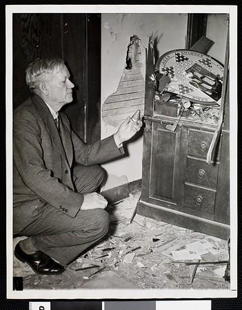 Kitchen damaged by anti-aircraft shell, 1942