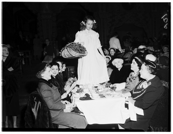 Ticktockers luncheon fashion show at Biltmore Bowl, Fabricade, 1952