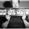 Art exhibit (Mosaic and Iron Glaze figure), 1958