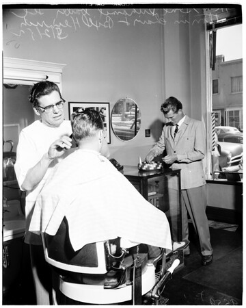 Help yourself cash basket in barber shop, 1952.