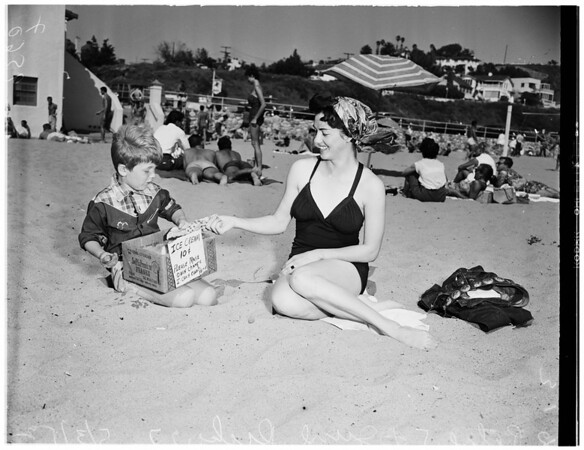 Beach picture, Will Rogers State Beach, 1952.