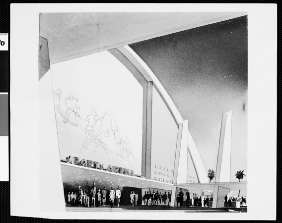 Stiles Clements sketch for proposed Sports Arena, 1954