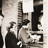 U.S.C. grades given out. Elaine Bear (at window) getting her grades, 1937