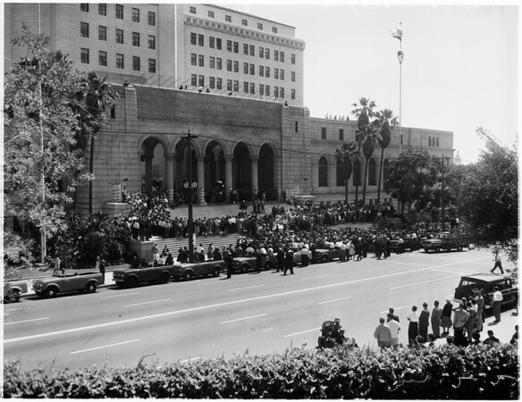 Los Angeles Dodgers welcome at City Hall, 1961