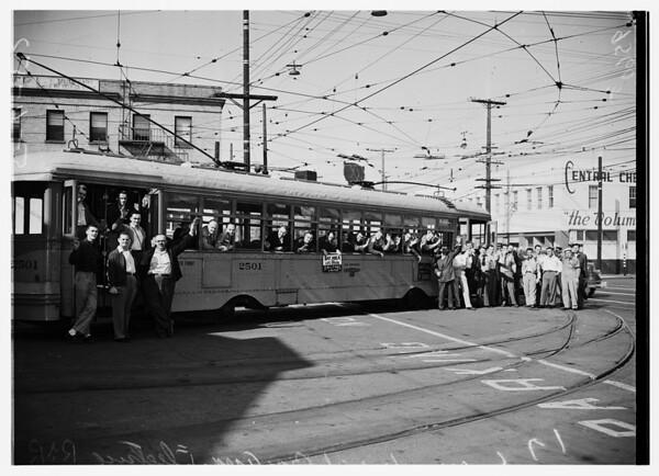 Railroad Association fan trip on Los Angeles Transportation Lines, 1952.