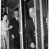 City officials leave by bus for Statler, 1958