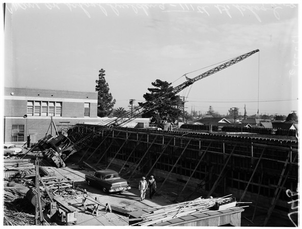 Crane on school building, 1958