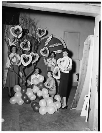 Junior League Women planning Valentine Party at Beistel Florists, 812 North La Cienega Boulevard, 1952