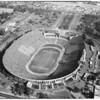 Air views of Los Angeles Coliseum, 1957
