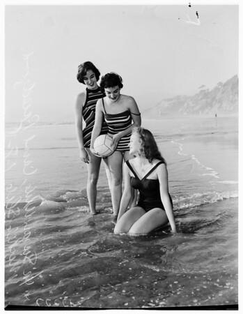 Californians in surf at beach (Santa Monica), 1958