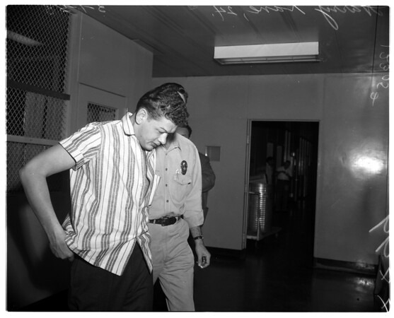 Burglary suspect in jail, 1958