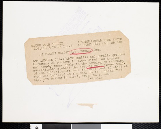 As planes raided Los Angeles area, 1942
