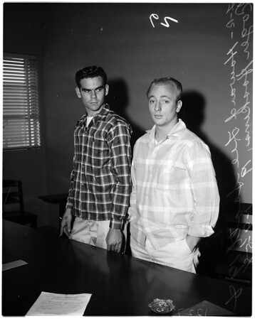 Inglewood cafe robbery attempt suspects in jail, 1958